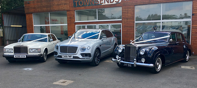 wedding cars outside townsends vehicle hire hq